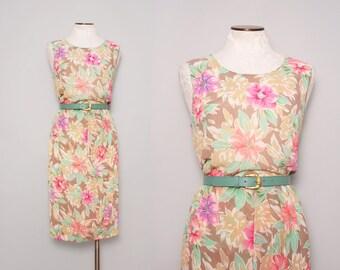 1980s Sundress / Vintage 80s Floral Dress / Large