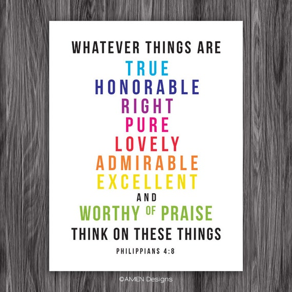 Philippians 4:8. PRINTABLE DIY Christian Poster. Dwell On