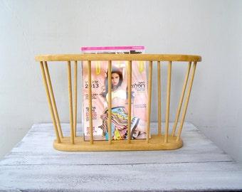 Wood Magazine Rack, Retro Newspaper Storage Basket Record Holder, Mid century Modern Magazine Stand, Rustic Dorm Cabin Decor Paper Organizer