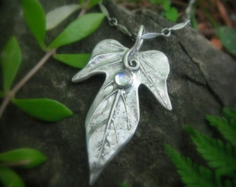 Elven Leaf Necklace With Moonstone - Made With a Real Leaf - Silvan Leaf - Artisan Handcrafted with Recycled Fine Silver - Silvan Arts