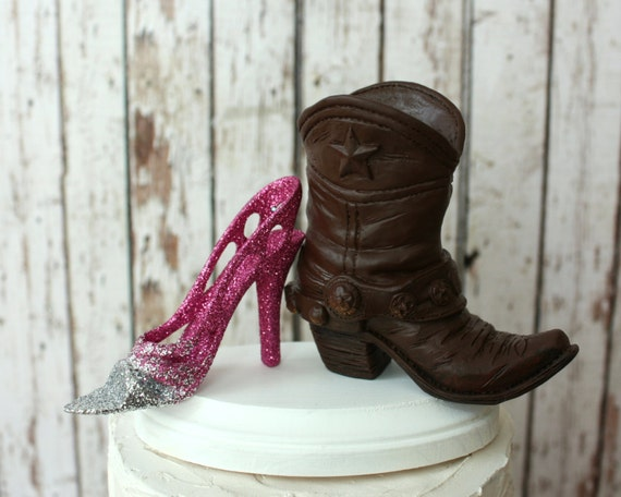 Boots and Heels-Country Western Wedding Cake Topper-His and Hers Wedding Cake Topper-Cowboy Boots Topper