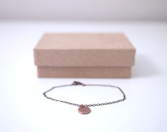 Dainty Delicate Antique Copper Chain With Tag Bracelet