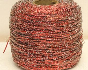Vintage Red silver metallic yarn