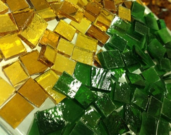 100 CHRISTMAS GREEN & GOLD Transparent Holiday Mix Stained Glass Tile