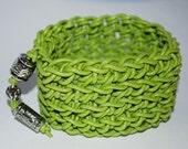 Lime Leather Crochet Cuff Bracelet