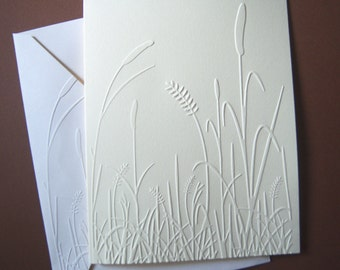 Set of 6 Embossed Cattails and Leaves Notecard Set