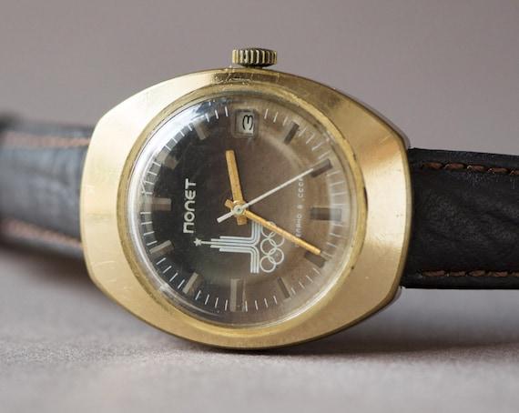 Men's watch Poljot, gold plated gents watch, rare Moscow Summer Olympics watch, Soviet memorabilia watch, men's watch, gift him