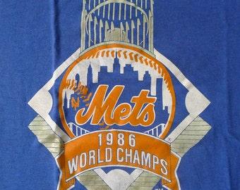 Vintage 1986 80s New York Mets World Champs Baseball T-Shirt