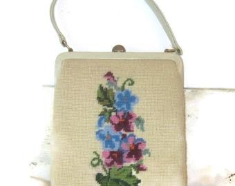 Midcentury Purse Handbag Floral Petite Point Purse Bag Handled Shoulder Bag Purse Crewel Bag Tapestry Purse Purple Green Blue Flowered Purse