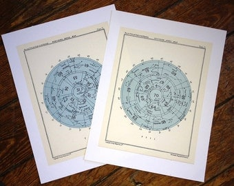 star maps set of 2 index celestial astronomy vintage celestial chart prints - northern & southern index