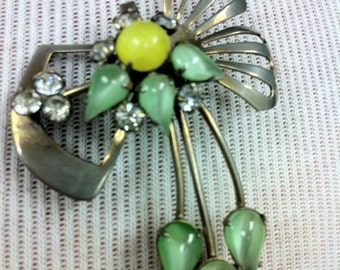 Unique vintage brooch pin green yellow sliver rhinestone bow