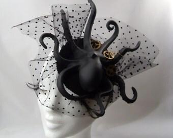 Black Gothic Octopus Steampunk Tentacle Headdress  Black HEADPIECE FASCINATOR