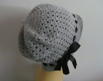 Crochet Gray Women Cloche Hat, cotton women cloche hat