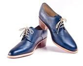 metallic blue derby oxford brogue shoes with cuban heel - FREE WORLDWIDE SHIPPING - goodbyefolk