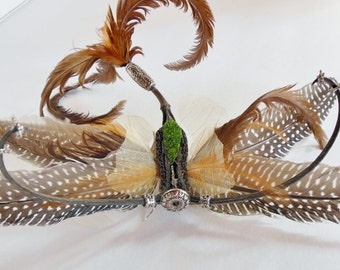 Bella Bug Whimsical Creature Clip in Brown Feathers and Moss