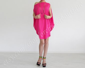 Multiway oversized balloon tunic dress cocktail boatneck dress one shoulder pink fuchsia fashion plus size bridesmaids maternity