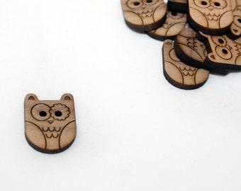 Owl Walnut Round Button, Laser Cut Wood