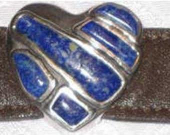 Lapis Heart in Sterling Leather Bracelet
