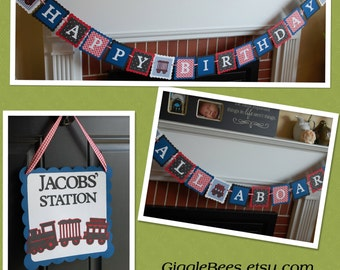Train Birthday Party Package, Happy Birthday Banner, All Aboard Banner, Door Sign, Train Birthday Decorations