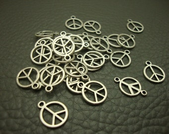 50Pcs 12mm Antique Silver  Peace Symble Charms Handmade Findings (3467)