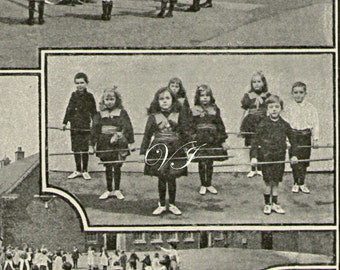 Antique Print, 1907, London Kindergarten Girls and Boys, maypole dancing and school exercising
