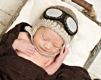 Newborn Hat, Baby Aviator Hat in Taupe and Light Brown, Photo Prop, Baby Hat, Boy Hat, Boy Beanie
