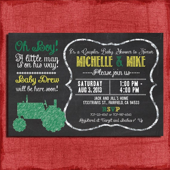 Printable Tractor Baby Shower And Couples Baby Shower Chalkboard Style 4x6 Or 5x7 Invitation-DIY