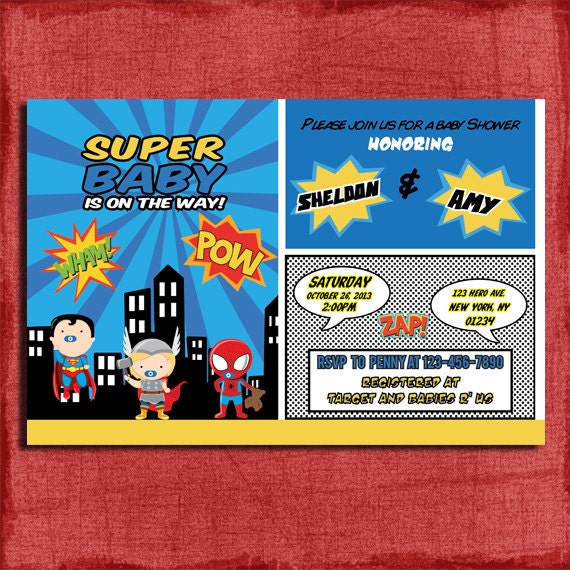 Baby Superhero Baby Shower InvitationPrintableDIY