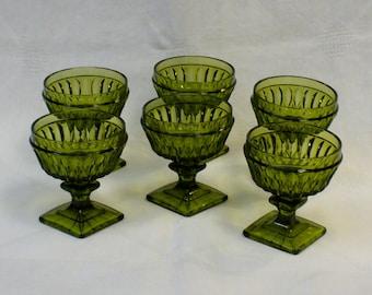 Set of Six Vintage Olive Green Pressed Glass Pedestal Dessert Cups Dishes Ice Cream Fruit 1960s