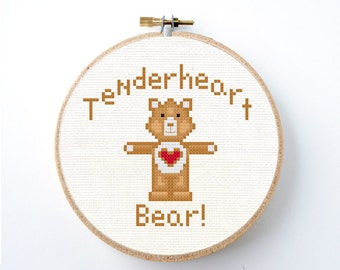 Care Bear Cross stitch pattern Instant Download Tenderheart Bear cute brown Kawaii heart bear