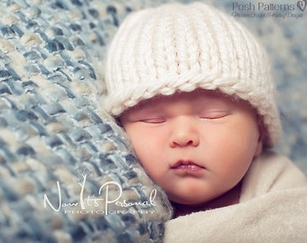 Knitting PATTERN - Knit Hat Pattern - Knitting Patterns - Easy Knit Baby Beanie Pattern - 6 Sizes Newborn to Adult - Make 2 Ways - PDF 227