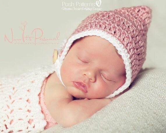 Crochet PATTERN - Crochet Tutorial - Pixie Hat Bonnet Pattern - Crochet Patterns Baby - Crochet Hat Pattern - Photo Prop Pattern - PDF 272