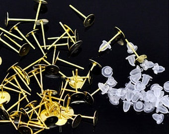 20 pcs (10 pairs) 8 mm Gold Plated Earring Posts and Nuts