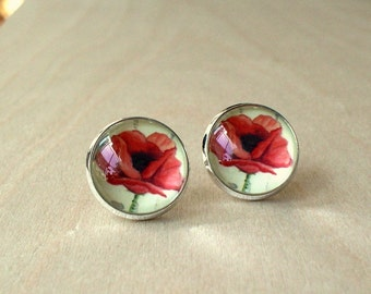 20% OFF -- I See You -- Poppy Flora Stud Earring , Cute gift for her