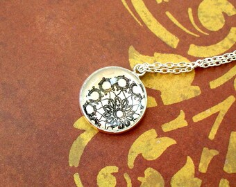 20% OFF - Black and white Flora lace Pendant Necklace,Gift Idea (White)