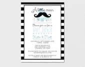 Printable Baby Shower Invitation - Mustache or Lips - Bowtie or Bow