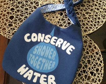 Conserve Water upcyled tshirt purse