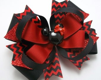 Mouse Red And Black Hair Bow, Mouse Boutique Hair Bow, Handmade Mouse Hair Bow, Mouse Hair Clip, Girls Hair Bows