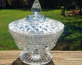 Vintage Heavy Footed Cut Glass Dish With Lid