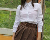 Pleated Tulip Skirt with Detachable Obi Sash Belt / size fit for S sized Women / Brown Mocha Colored Skirt