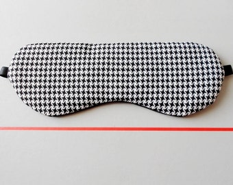 Houndstooth Black and White Handmade Sleep / Eye Mask  / Simple and Cozy Fall Winter Eyewear