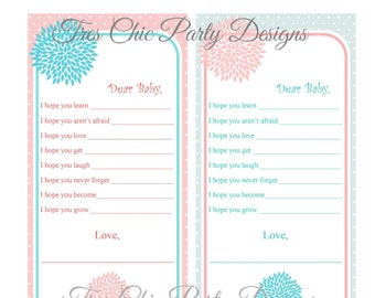Baby Shower Advice Cards, Mommy Advice Cards, Baby Shower, Flower Garden  Collection DIY