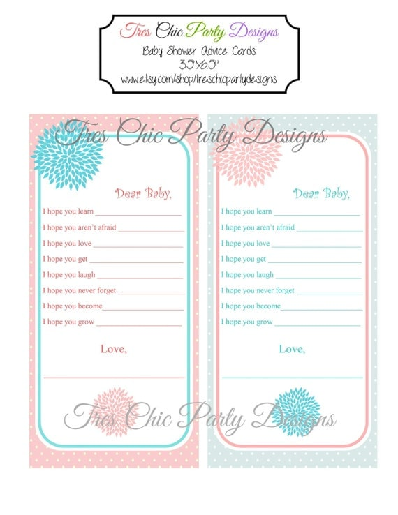 Baby Shower Advice Cards, mommy advice cards, baby shower,  Flower Garden Collection DIY Printable, INSTANT DOWNLOAD