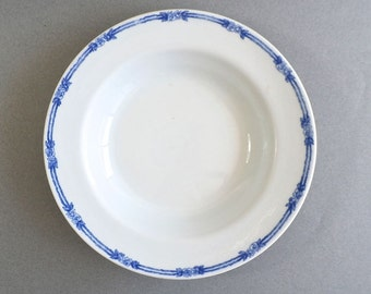 Iroquois China - New York State Property - 1926 - Restaurant Ware Serving Bowl - Blue - White