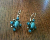 Turquoise earrings Native American made faux turquoise hallmarked on back