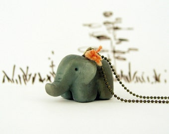 Baby elephant olive green necklace, polymer clay, pendant, animal necklace, peach thread, brass ball chain, feng shui, totem necklace