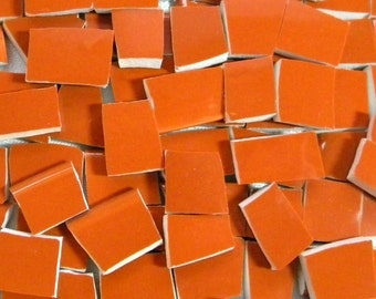 CINNAMON Brown - Solid Color Mosaic Tiles - Recycled Plates - 100 Tiles