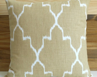 SALE Both sides, Tan moroccan ikat decorative pillow cover, beige pillow