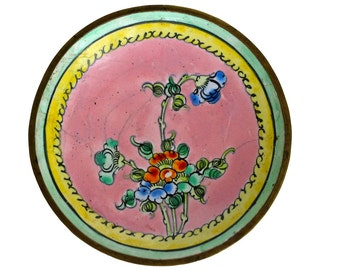 Vintage Pink & Green Floral Cloisonne Dish
