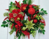 Christmas Winter Evergreen Red and Green Sparkling Wreath